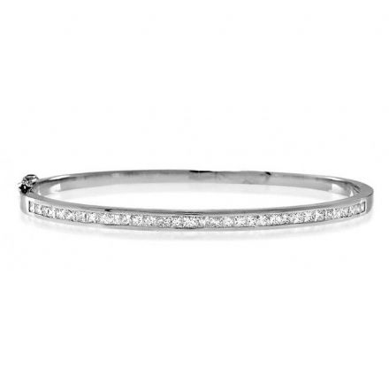 18K White Gold 1.50ct H/si Diamond Bangle, K1014